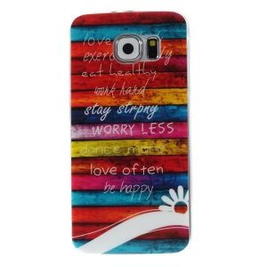 For Samsung Galaxy S6 G920 TPU Skin Case - Colorful Stripes Wood and Quotes