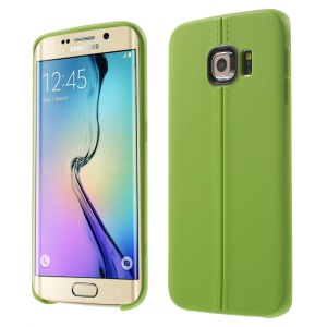 Leather Grain Lines TPU Cover for Samsung Galaxy S6 Edge G925 - Green