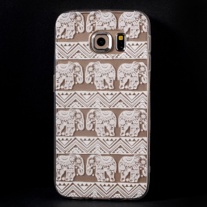 Color Printing Protective TPU Cover for Samsung Galaxy S6 Edge G925 - Elephants Clip Art