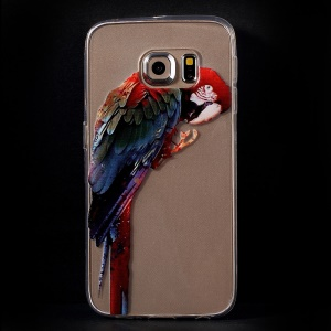Color Printing Protective TPU Case Shell for Samsung Galaxy S6 Edge G925 - Colorful Parrot