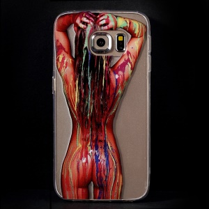 Color Printing Protective TPU Cover for Samsung Galaxy S6 Edge G925 - Body Paint