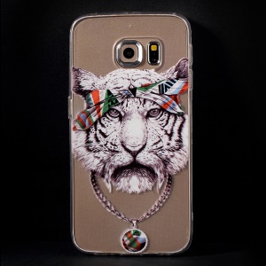 Color Printing Protective TPU Cover Case for Samsung Galaxy S6 Edge G925 - Tiger Illustration