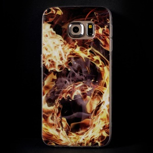 Color Printing Protective TPU Cover Shell for Samsung Galaxy S6 Edge G925 - Flame