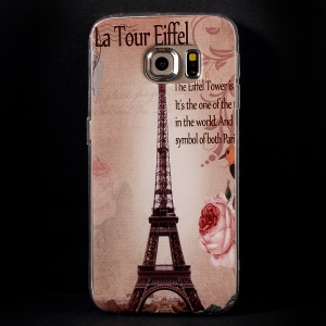 Color Printing Protective TPU Shell Case for Samsung Galaxy S6 Edge G925 - Classic Rose France Eiffel Tower