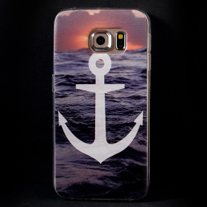 Color Printing Protective TPU Shell Cover for Samsung Galaxy S6 Edge G925 - Anchor and Sea