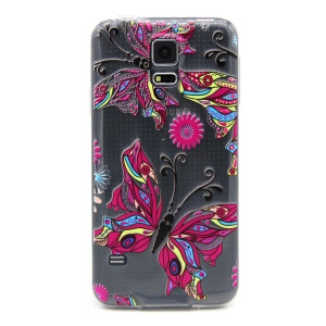 Embossment Slim TPU Phone Case for Samsung Galaxy S5 G900 / S5 Neo - Charming Butterflies & Flowers