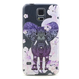 Embossed Diamante Gel TPU Cover for Samsung Galaxy S5 G900 / S5 Neo -  Elephant