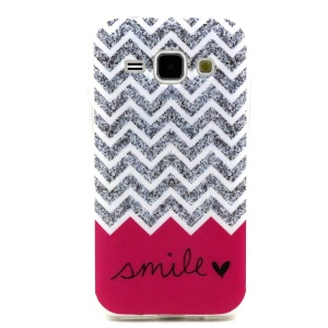 Soft IMD TPU Shell Cover Case for Samsung Galaxy J1 / J1 4G - Chevron and Smile