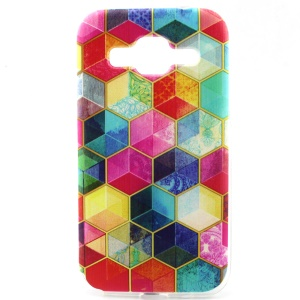 Soft Painted TPU Case for Galaxy Core Prime SM-G360 - Multi-color Hexagon