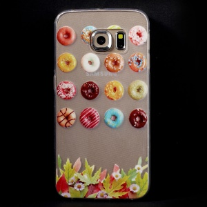 Slim TPU Phone Cover for Samsung Galaxy S6 Edge G925 - Colorful and Delicious Donuts