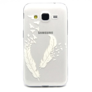 Embossed TPU Shell Case for Samsung Galaxy Core Prime SM-G360 - White Feathers