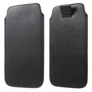 Pull-up Tab Leather Pouch for Samsung Galaxy S6 G920 Inner Size 14.5 x 8cm - Black