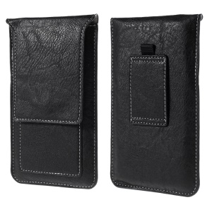 Universal 5.2-inch Vertical Leather Pouch for iPhone 8 7 Etc. with Card Slots, Size: 145x85mm - Black