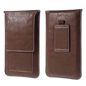 Universal 5.2-inch Leather Pouch Case with Belt Loop for iPhone 8 7 Etc., Size: 145x85mm - Brown