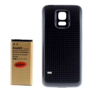 6500mAh Extended Battery + Back Cover Replacement for Samsung S5 Mini G800F G800H - Black