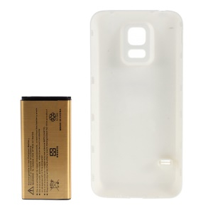 6500mAh Extended Battery + Back Plastic Cover Replacement for Samsung S5 Mini G800F G800H - White