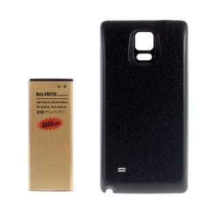 8000mAh High Capacity Gold Color Extended Battery + Back Cover for Samsung Galaxy Note 4 N910 - Black