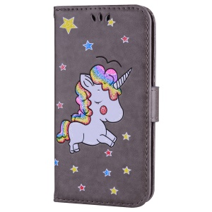 For Samsung Galaxy S7 Flash Powder Unicorn Imprint Flower Leather Wallet Case - Grey