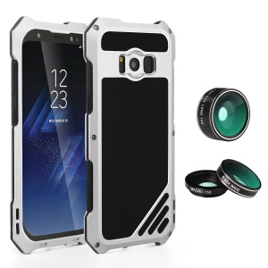 Heavy Duty Shockproof Metal Cover with Fisheye/Wide-angle/Macro Lens for Samsung Galaxy S8 G950 - Silver