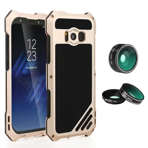Heavy Duty Shockproof Metal Phone Case with Fisheye/Wide-angle/Macro Lens for Samsung Galaxy S8 G950 - Gold