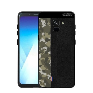 NXE Camouflage Pattern Splicing TPU Shell Case for Samsung Galaxy A8+ (2018) - Army Green Camouflage / Black