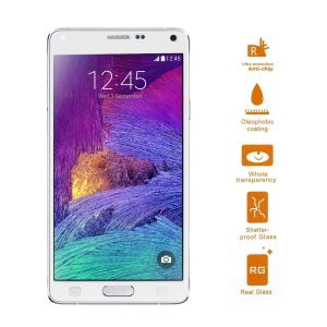 For Samsung Galaxy Note 4 N910 Shatterproof Tempered Glass Screen Shield Guard Film - White