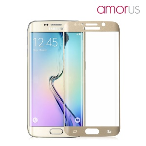 AMORUS Tempered Glass Screen Film for Samsung Galaxy S6 edge G925 Complete Covering Corning Gorilla Glass - Gold