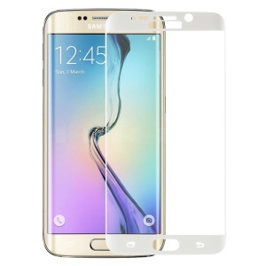 PDGD Silk Print 0.3mm Tempered Glass Screen Protector for Samsung Galaxy S6 edge Plus G928 Complete Covering - White