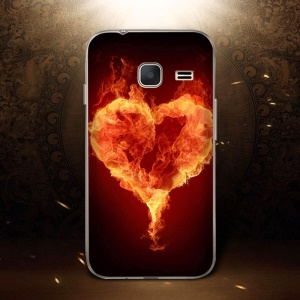 Softlyfit Embossing TPU Protective Case for Samsung Galaxy J1 mini - Burning Flames
