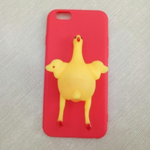 Funny Squishy 3D Chicken Lay Egg TPU Moible Phone Case for iPhone 6s Plus / 6 Plus - Red