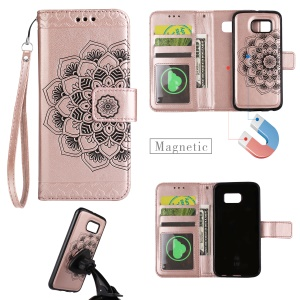 Imprinted Flower Pattern Detachable 2-in-1 TPU+PU Leather Stand Wallet Phone Casing Cover for Samsung Galaxy S7 G930 - Rose Gold