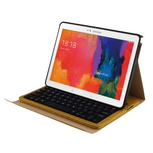 Bluetooth Keyboard Leather Case for Samsung Galaxy Tab Pro 10.1 T520 T525 / Note 10.1 P600 Portfolio w/ Stand - Yellow