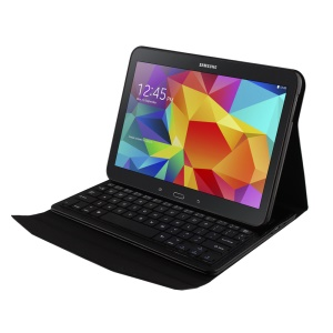 Crazy Horse Bluetooth Keyboard Leather Case for Samsung Galaxy Tab 4 10.1 T535 T531 T530 - Black