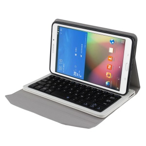 Bluetooth 3.0 Keyboard + Leather Stand Case for Samsung Galaxy Tab 4 8.0 T330 - White