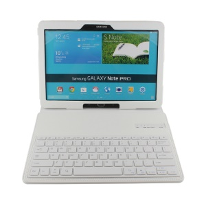 Folio Leather Cover Bluetooth Keyboard for Samsung Galaxy Note Pro 12.2 P905 / Tab Pro 12.2 T900 with Stand - White