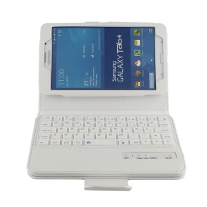 Bluetooth Keyboard and Leather Case for Samsung Galaxy Tab 4 7.0 T230 - White
