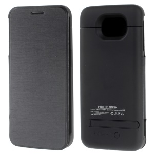 4200mAh Leather Battery Charger Case for Samsung Galaxy S6 G920 - Black