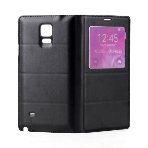Window View Wireless Qi Charging Receiver NFC for Samsung Galaxy Note 4 N910 Leather Flip Battery Cover - Black