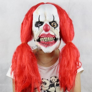 Halloween Latex Red Braid Clown Mask Funny Scary Ghost Latex Masks for Costume Party or Cosplay