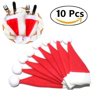 10Pcs/Set Christmas Caps Cutlery Holders Fork Spoon Tableware Pocket Santa Hat Decoration