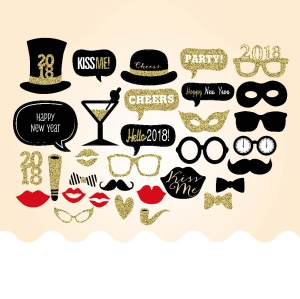 32PCS Photo Booth Props Mustache Lip Bowknot DIY Kit for New Year Christmas