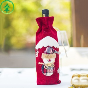 Christmas Element Wine Bottle Holder Cover Gift Bag Home Party Decoration - Red