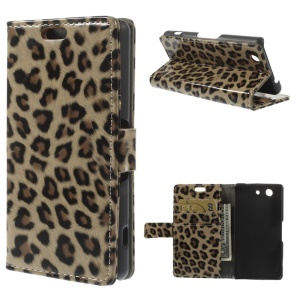 For Sony Xperia Z3 Compact D5803 M55w Glossy Leopard Wallet Leather Stand Cover