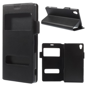 Doormoon Genuine Window View Leather Stand Case for Sony Xperia Z3 D6603 D6653 - Black