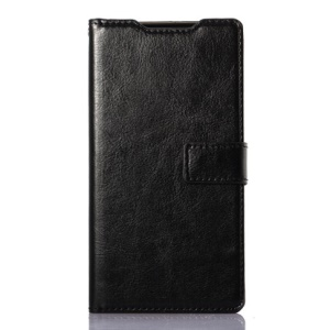 Oil Buffed Leather Wallet Case with Stand for Sony Xperia Z3 D6653 D6603 - Black