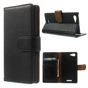 For Sony Xperia E3 D2203 D2206 Litchi Texture Stand Leather Wallet Case - Black