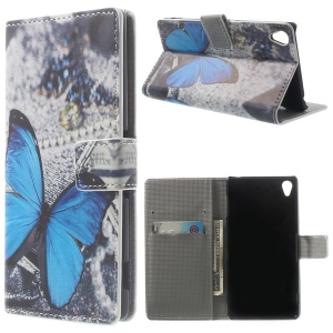 Appealing Blue Butterfly Wallet Leather Stand Cover for Sony Xperia Z3 D6653 D6603