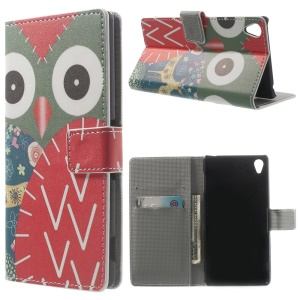 Flowered Owl Folio Stand Leather Wallet Cover for Sony Xperia Z3 D6653 D6603