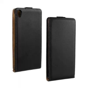 Vertical Flip Genuine Split Leather Case for Sony Xperia Z3 D6653 D6603 - Black