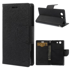 Mercury GOOSPERY Fancy Diary Wallet Leather Stand Case for Sony Xperia Z3 Compact D5803 M55w - Black